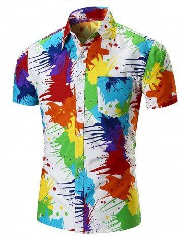 Watercolor Print Turndown Collar Shirt Mens Shirt Dress Mens Shirts