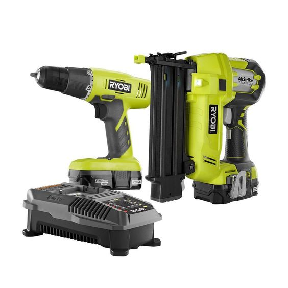 Ryobi 18-Volt ONE+ Lithium-Ion Cordless Drill/Driver and Brad Nailer 2-Tool Combo Kit with (2) 1.3 Ah Batteries and Charger
