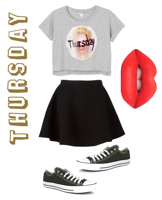 """Not on Monday, Tuesday, Wednesday,Friday, Saturday, Sunday, but on Thursday"" by weeknd-is-life ❤ liked on Polyvore featuring Monki, Neil Barrett, Converse and Lime Crime"