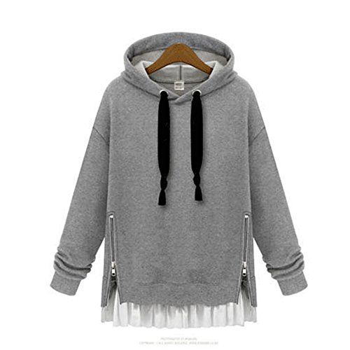 Clothesforu Casual Gray Pullover Hoodie Chiffon Street Hem Style Sweater  Clothesforu Casual Gray Pullover Hoodie Chiffon Street Hem Style Sweater Stylish Chiffon Hem Pullover Hoodies by are exquisitely designed in on street style, with soft stretchy fabric. Featuring solid color body with white chiffon trim, ribbed cuffs to keep more warmth, side zippers detail and hooded neck with drawstring for individual look. Dress up in casual attractive look effortlessly with this wonderful pi..