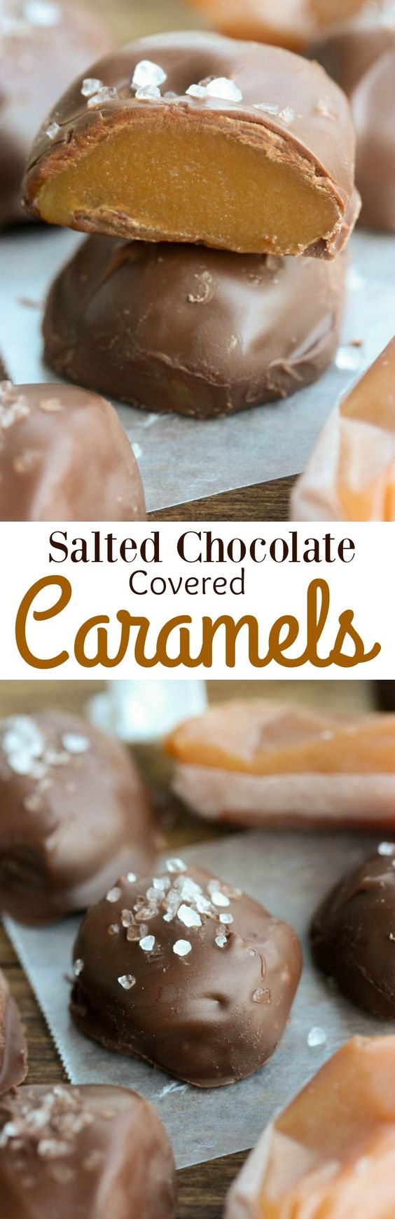 Salted Chocolate Covered Caramels-Soft homemade caramels covered in chocolate and sprinkled with sea salt. | Tastes Better From Scratch