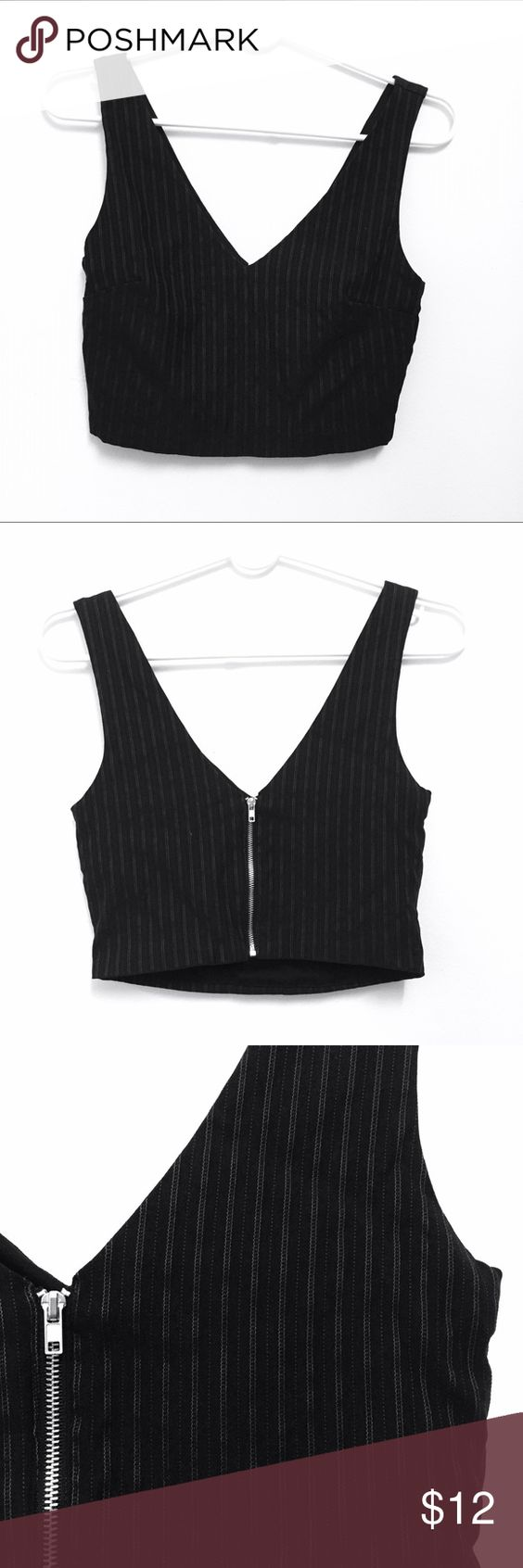 Zipper back Crop Top V-neck Crop Top with lightly lined grey thread stripes. Forever 21 Tops Crop Tops