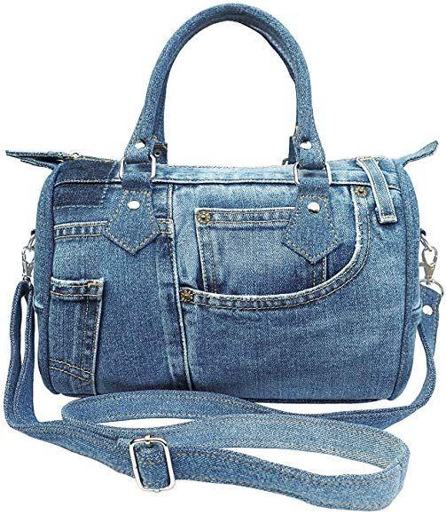 Dark Shade Unique Large Blue Denim Doctor Style Top Handle Shoulder Handbag Purse BL070