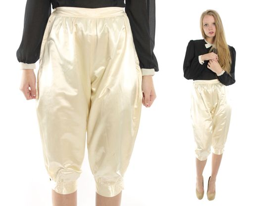 Vintage 30s Satin Knickers Ivory Cropped Pants Long Shorts Riding ...
