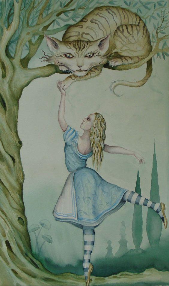 Dominic Murphy Original Watercolour Painting Alice in Wonderland Cheshire Cat