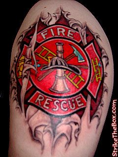 Maltese Cross firefighter Tattoos from webstarts.com shared by nyfirestore.com