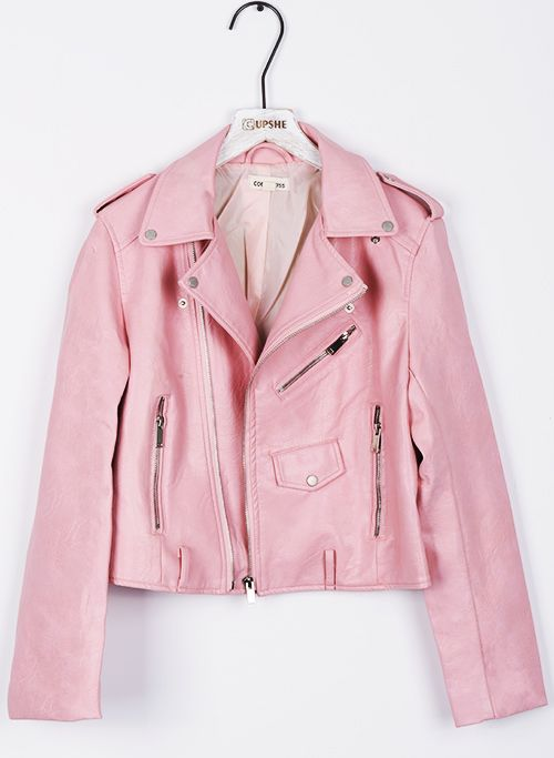 Made My Day Peach PU Jacket | Short leather jacket, Shorts and Back to