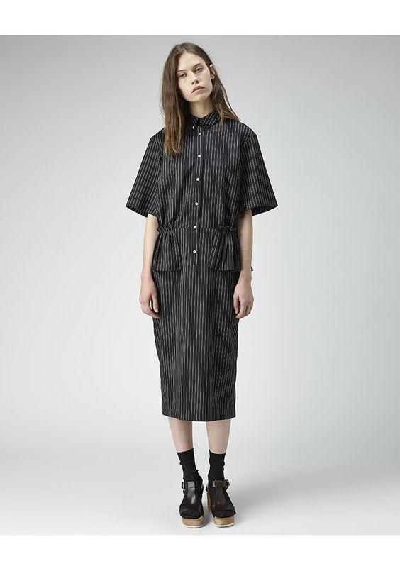 Suno Pleated Peplum Shirtdress | La Garçonne