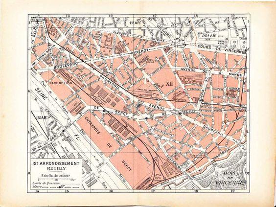 1920s Street  Map Paris 12 Reuilly