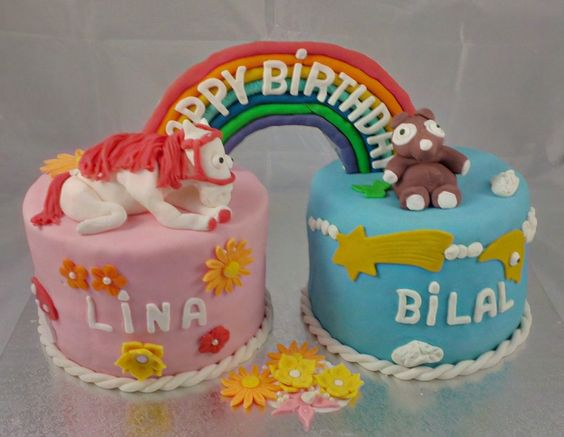 cake for twins girl and boy