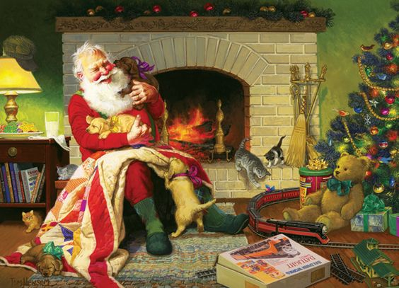 1000 piece Christmas puzzle from Cobble Hill Santa and puppies--how