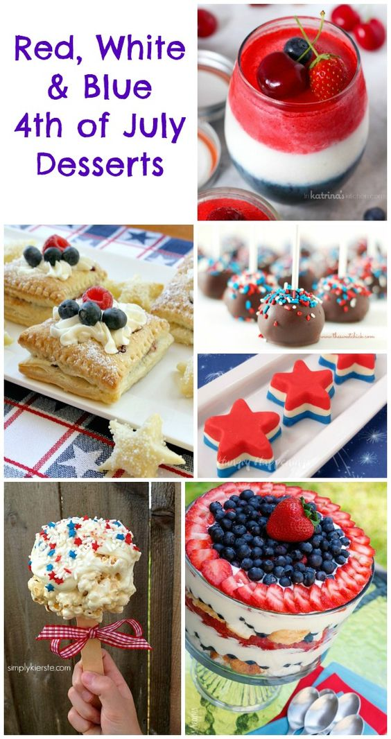 Red white blue blue and 4th of july desserts on pinterest for Fourth of july party dessert ideas