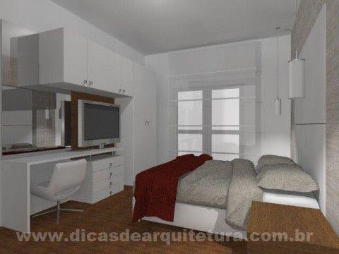 Quarto com armário multifuncional. http://dicasdearquitetura.com.br/quarto-com-muitos-armarios/