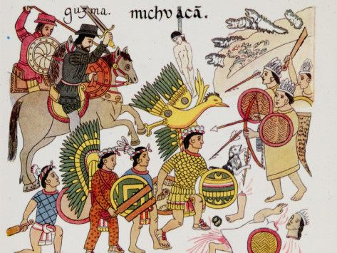 Native Drawing of Spaniards under Hernando Cortes Fighting Against the Aztecs: