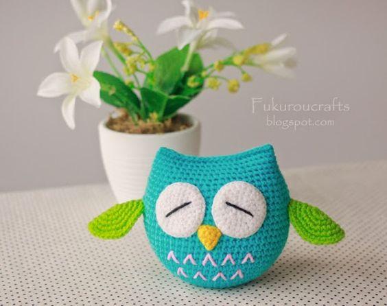 fukuroucrafts: Pattern Crochet Cute Owl Doll, แพทเทิร์น ตุ๊กตา ถัก โครเชต์ นกฮูก น้อย น่ารัก