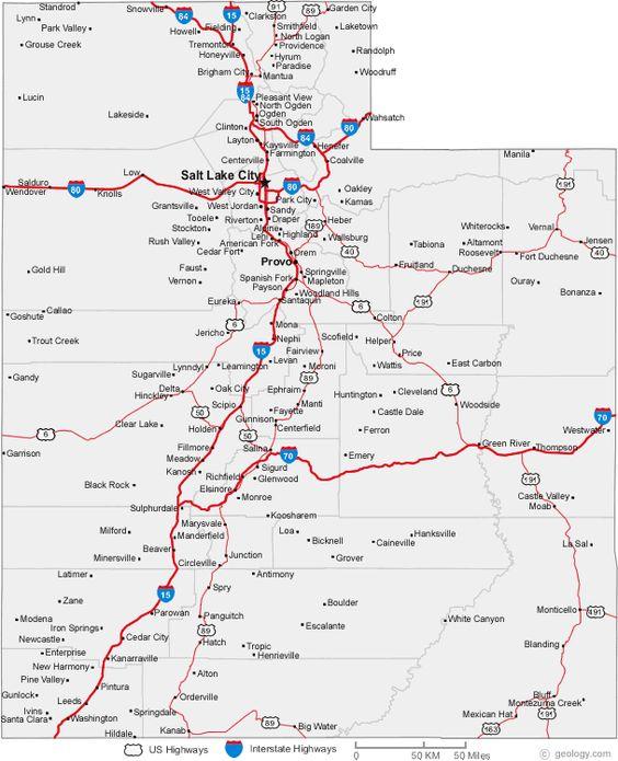 Map Of Utah Cities  STATE OF UTAH USA  Pinterest  Utah