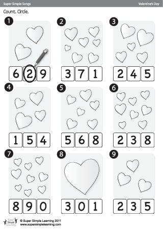 Printables Pre K Learning Worksheets skidamarink count circle valentines day worksheet from super simple learning prek