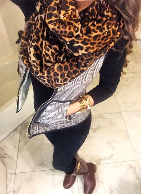 I'm in love with my leopard print circle scarf from Michael Kors. Love how she paired a similar scarf with this vest.
