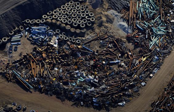 Metal scrap from mining operations at the Syncrude Canada oil sands near Fort McMurray, Canada.  Photographer: Ben Nelms/Bloomberg