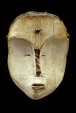 Fang Ngil mask  Fang people, Gabon    Ngil masks were used by the judiciary association of the Fang in order to command awe and respect from the tribe. They almost always have a white faces and were probably intended to embody spirits of the deceased.: