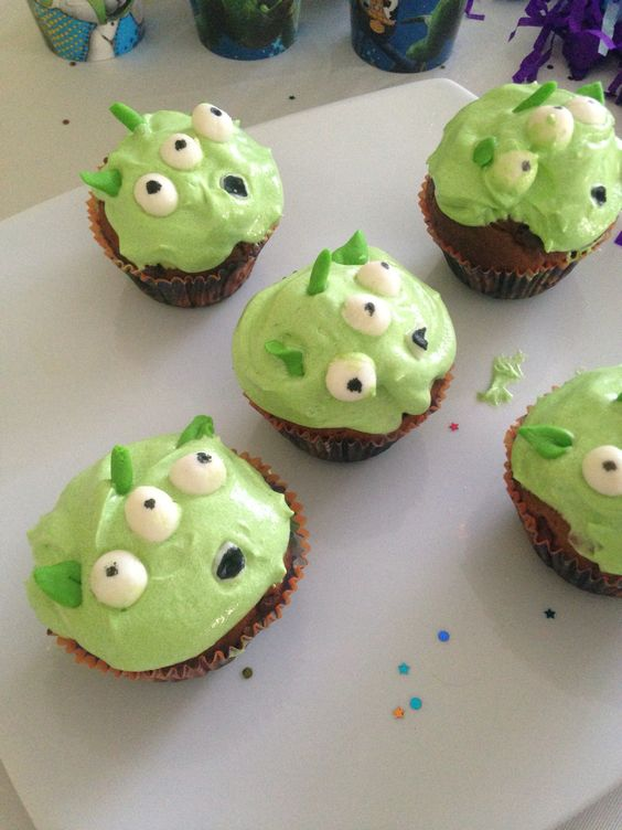 Toy Story Alien Cupcakes.