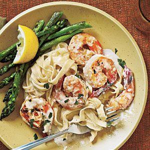 Healthy Shrimp Fettuccine Alfredo Recipe