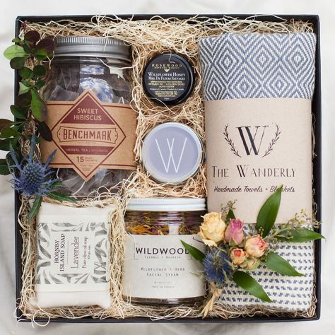 FLORAL SPA GIFT BOX - A gift full of relaxation. Sweet hibiscus tea, wildflower honey, and lavender olive oil soap creates a gift box with a little slice of heaven.