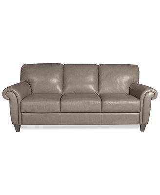 "New Arianna Leather Sofa Macy s about $1000 es dark brown or taupe grey 84"" Fresh - Popular nailhead leather sofa Minimalist"