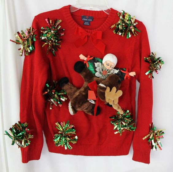 Deb S Handmade Ugly Tacky Christmas Sweater Kids Boys 12