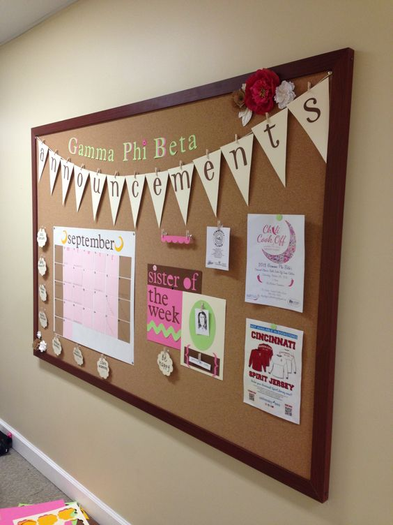 Ideas For Announcement Boards : Chapter announcement board post in meeting room