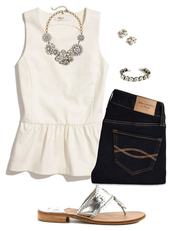 """Silver"" by sc-prep-girl ❤ liked on Polyvore featuring Madewell, Abercrombie & Fitch, J.Crew and Jack Rogers:"