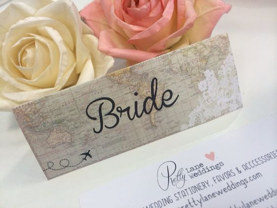 Vintage map folded place cards  personalised by PrettyLaneWeddings