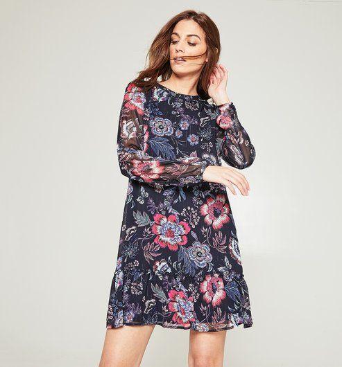 Robe courte rayures et fleurs imprimées bas volanté femme