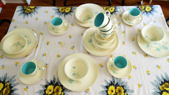 Service for 8, 34 Piece Set Taylor Smith Taylor Ever Yours Boutonniere Dinnerware, Rare TST Chateau Buffet Cereal Bowls , TST Boutonniere