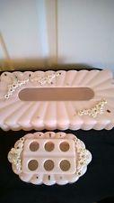 VTG Pink Plastic Tissue Box & Lipstick Holder, Molded Flowers, VGUC, Mid Century