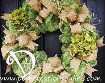 Spring Burlap Wreath, Spring  Wreath,  Spring  Mesh Wreath, Burlap Wreath, Deco Mesh Wreath, Summer Decor, Custom initial Monogram
