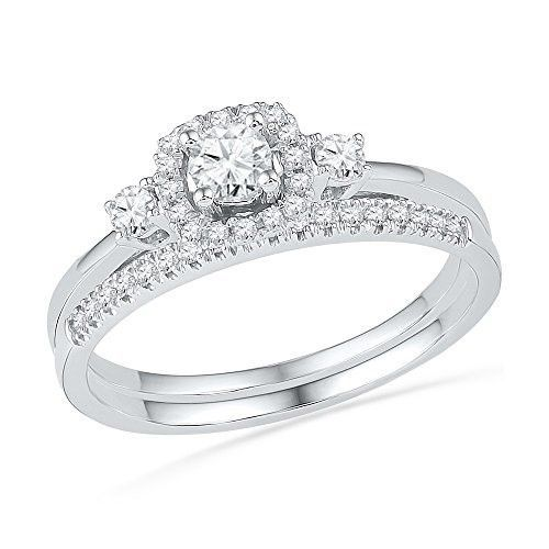 10k White Gold Round Natural Diamond Solitaire Halo Bridal Wedding Engagement Ring Ban Wedding Rings Engagement Halo Wedding Rings Sets Wedding Rings Solitaire