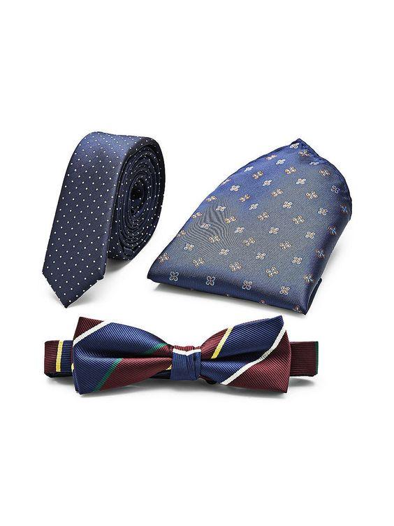 PREMIUM by JACK & JONES - Party-Pack von PREMIUM - Enthält Fliege, Krawatte und Einstecktuch - Schmale Krawatte 100% Polyester...