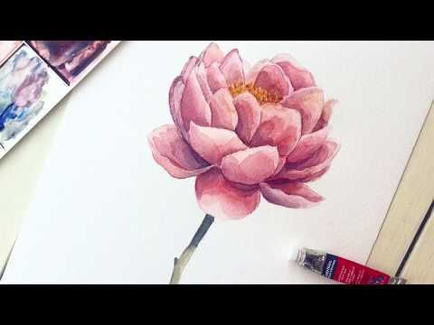Peony Flower In Watercolor Easy Step By Step Tutorial Youtube