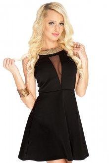 Black Cutout Mesh Sleeveless A-Line Party Dress