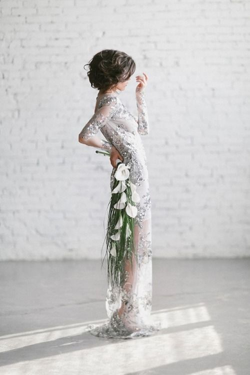 bridal style   sequins and dripping bouquet   via: oh suze q