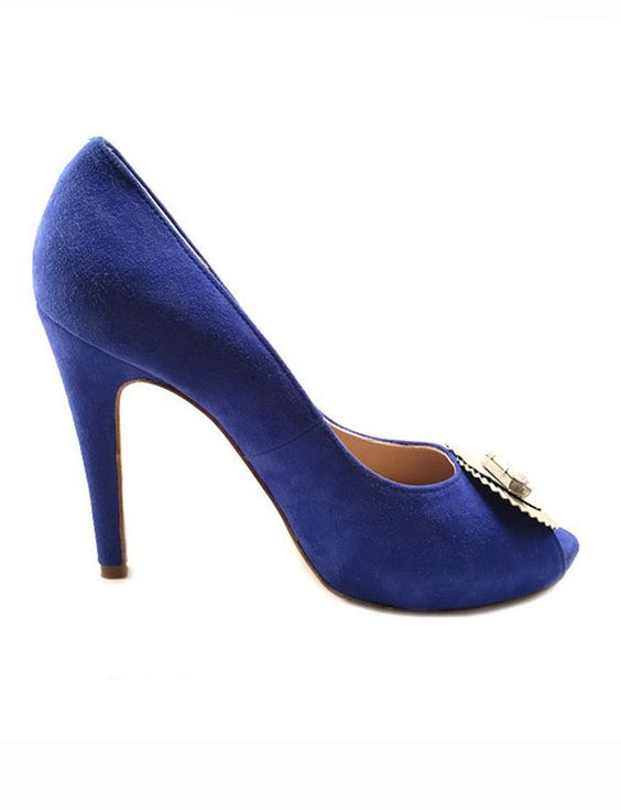 Zapato peep toe azul marino perfil