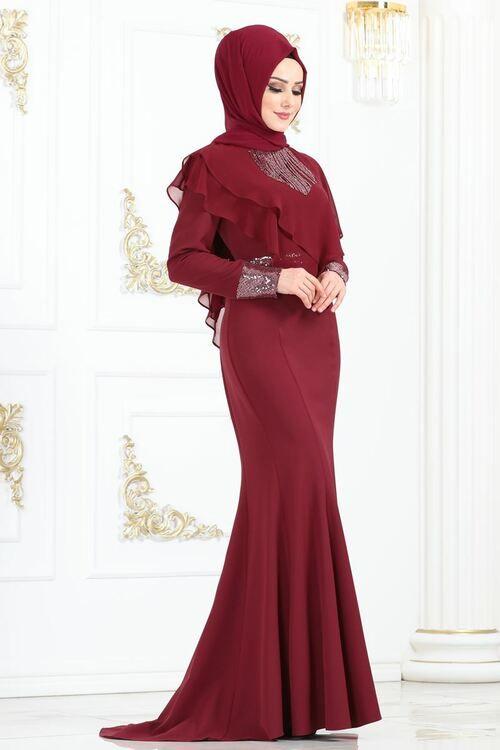 Modaselvim Abiye Sifon Detay Balik Abiye Ygs6204 Bordo Pakistani Fashion Dresses Fashion