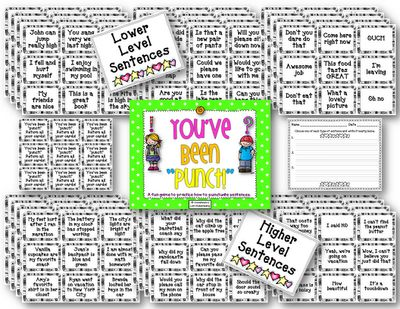 Teaching With Love and Laughter: What a fun way for your students to practice proper punctuation! This game is a version of the popular game BANG! Instead of reading words, students read sentences and tell what punctuation mark completes the sentence. Students can play this game in large or small groups. A recording sheet is included. There are two different levels of sentences. Each level includes 108 sentences.