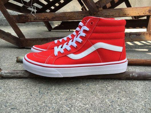 Vans Sk8 Hi Red White Vn00018ijv6 Skate Vans For Sale Vans White Vans Vans Vans Sk8