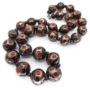 Image of Antique Edwardian Venetian Fancy Black Aventurine Eye Bead Necklace