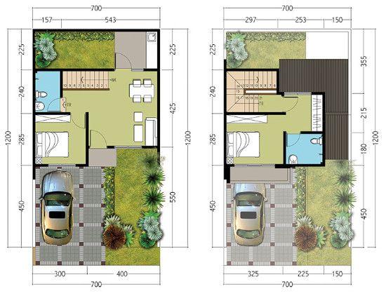 Denah Rumah Minimalis Ukuran 7x12 Me 2 Kamar Tidur 2 Lantai Rumah Minimalis Rumah Minimalis