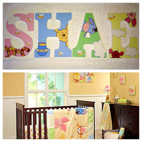 Custom wooden letters hanging peeking winnie the pooh wood for Wall letters kids room