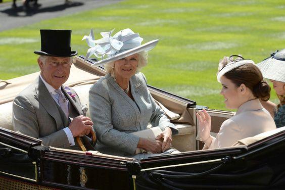 Prince Charles, Camilla Duchess of Cornwall and Princess Eugenie. Royal Ascot 2015.