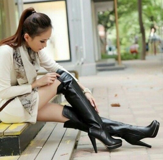 Leather knee high boots, Over knee boots and Thigh high boots on ...